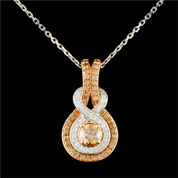 14K Gold 0.99ctw Fancy Color Diamond Pendant