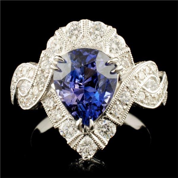 18K Gold 3.56ct Sapphire & 1.38ctw Diamond Ring
