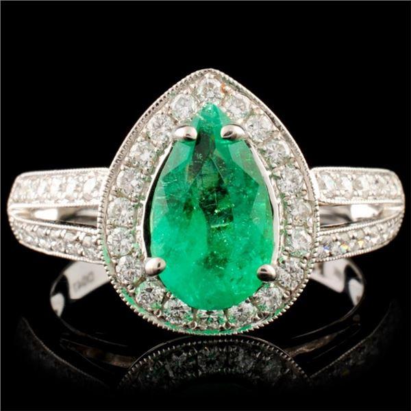 18K Gold 1.24ct Emerald & 0.47ctw Diamond Ring