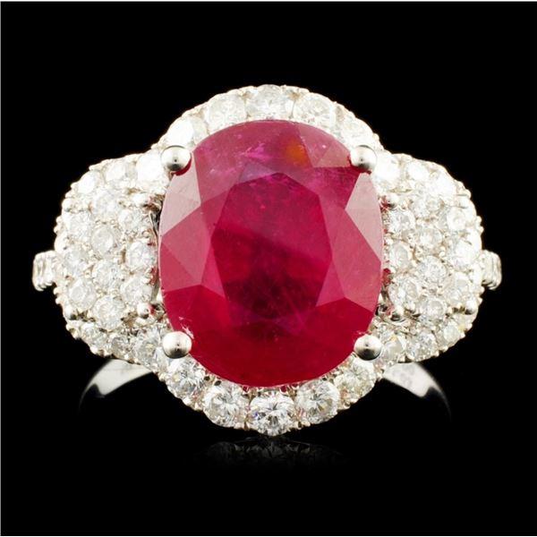 14K Gold 5.00ct Ruby & 1.03ctw Diamond Ring
