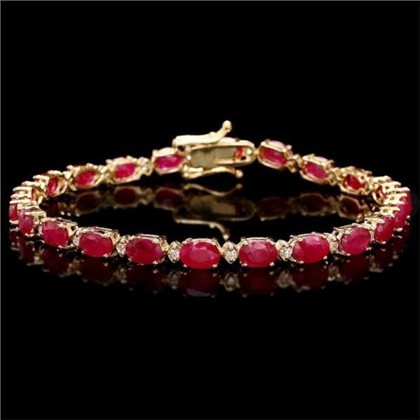 14k Gold 11.00ct Ruby & 0.50ct Diamond Bracelet