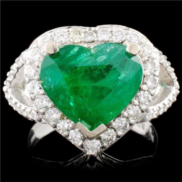 14K Gold 3.47ct Emerald & 0.89ctw Diamond Ring