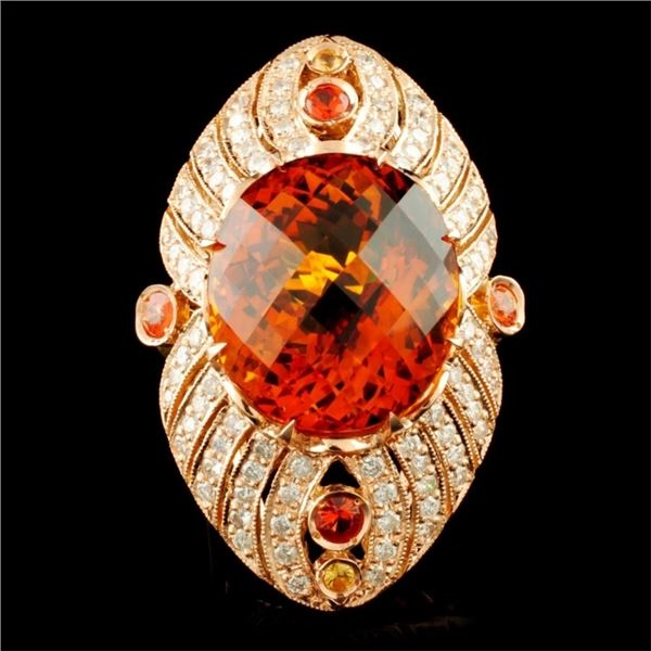 14K Gold 24.98ct Citrine & 1.60ctw Diamond Ring