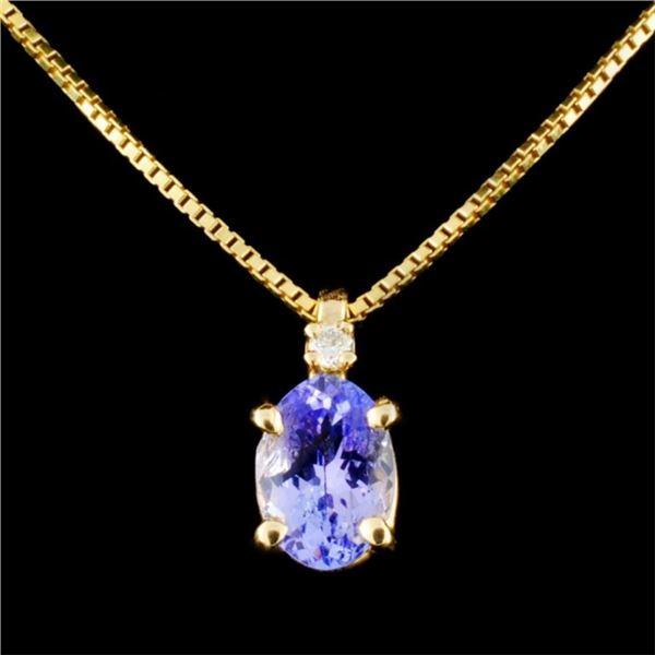 14K Gold 1.17ct Tanzanite & 0.03ctw Diamond Pendan