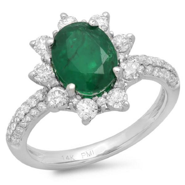 14K Gold 2.50ct Emerald & 1.00ct Diamond Ring