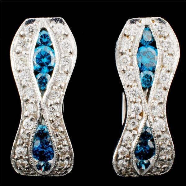 18K Gold 0.96ctw Diamond Earrings