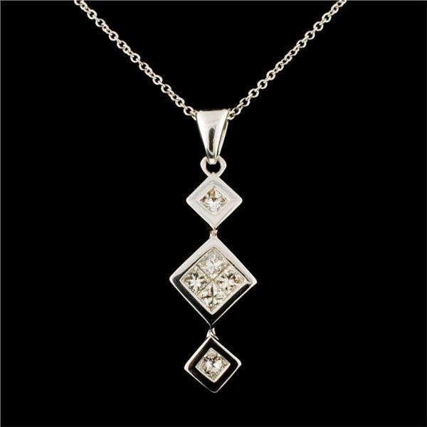 14K Gold 0.64ctw Diamond Pendant