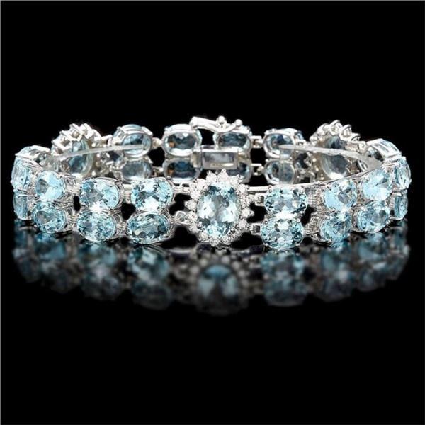 14k Gold 38.00ct Aquamarine & 2.00ct Diam Bracelet