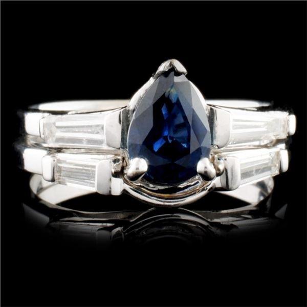 14K Gold 0.65ct Sapphire & 0.56ctw Diamond Ring