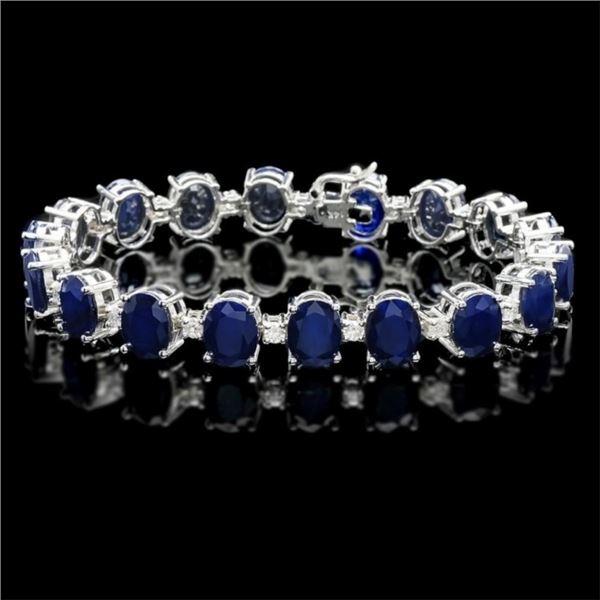 14k Gold 40.00ct Sapphire & 1.50ct Diam Bracelet