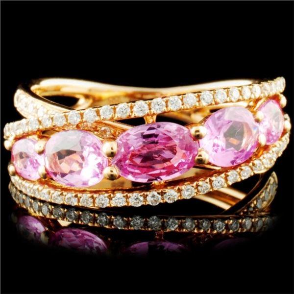 18K Gold 1.88ct Sapphire & 0.29ctw Diamond Ring