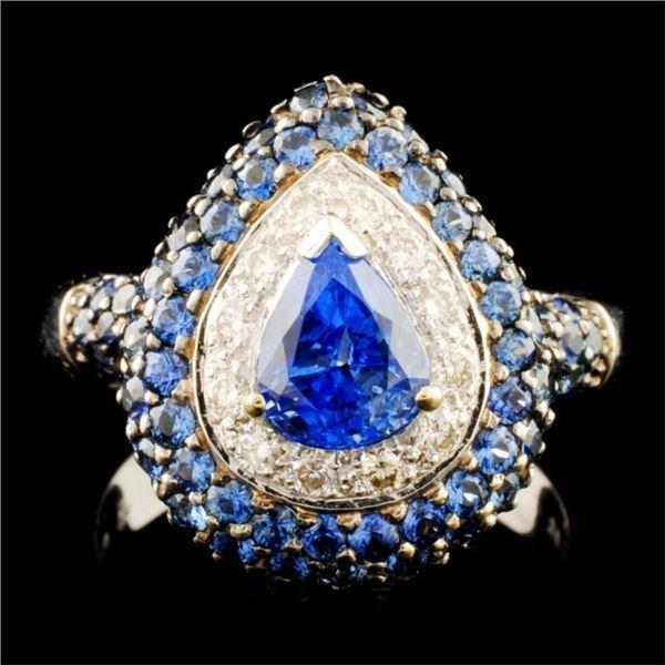 18K Gold 4.10ct Sapphire & 0.24ctw Diamond Ring