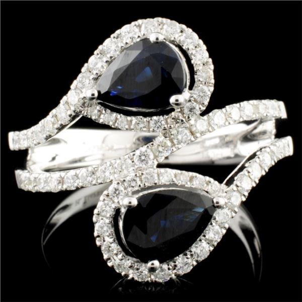 14K Gold 1.63ct Sapphire & 0.60ctw Diamond Ring