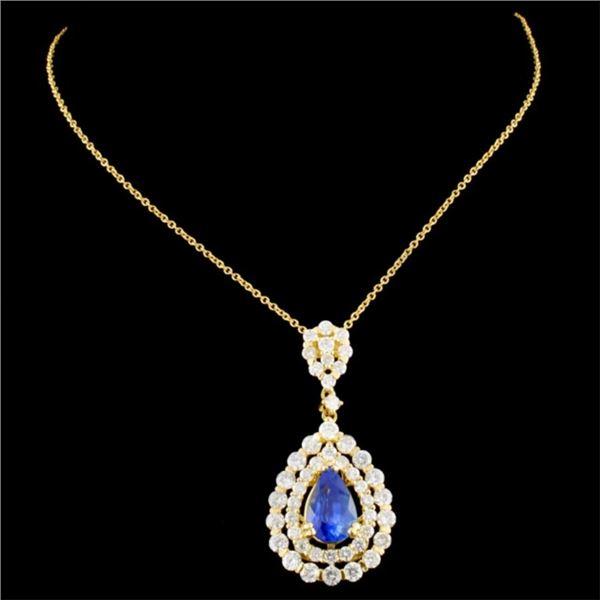 18K Gold 1.97ct Sapphire & 1.77ctw Diamond Pendant