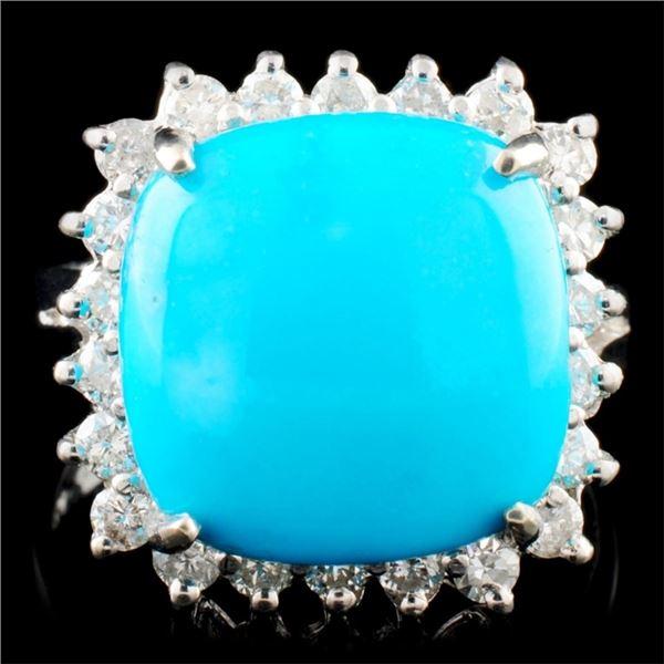 14K Gold 6.06ct Turquoise & 0.58ctw Diamond Ring
