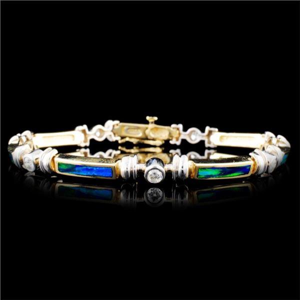 14K Gold Enamel & 0.56ctw Diamond Bracelet