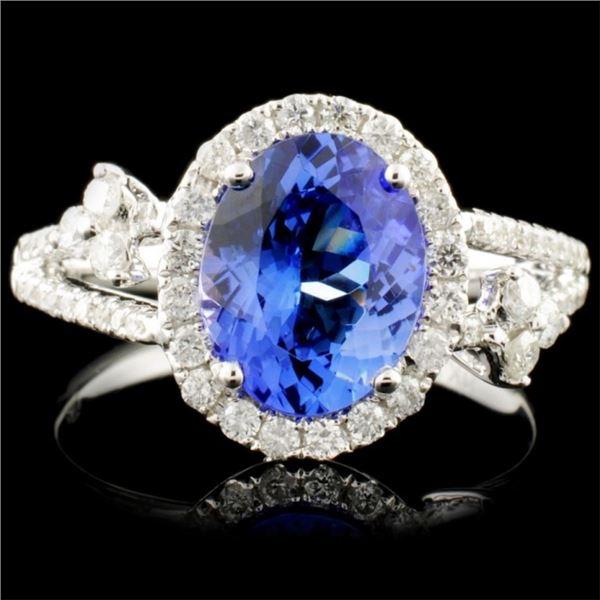 14K Gold 2.20ct Tanzanite & 0.48ctw Diamond Ring