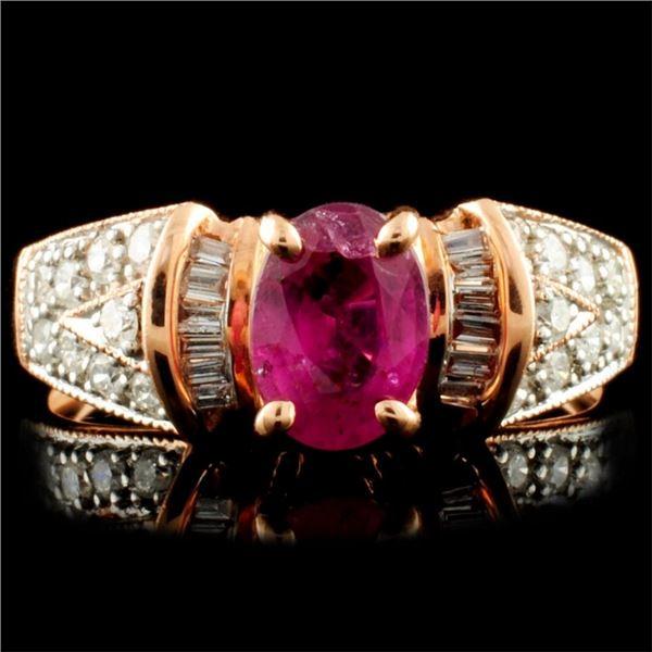 14K Gold 0.98ct Ruby & 0.34ctw Diamond Ring