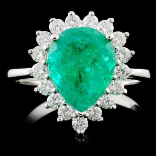 18K Gold 2.32ct Emerald & 0.56ctw Diamond Ring