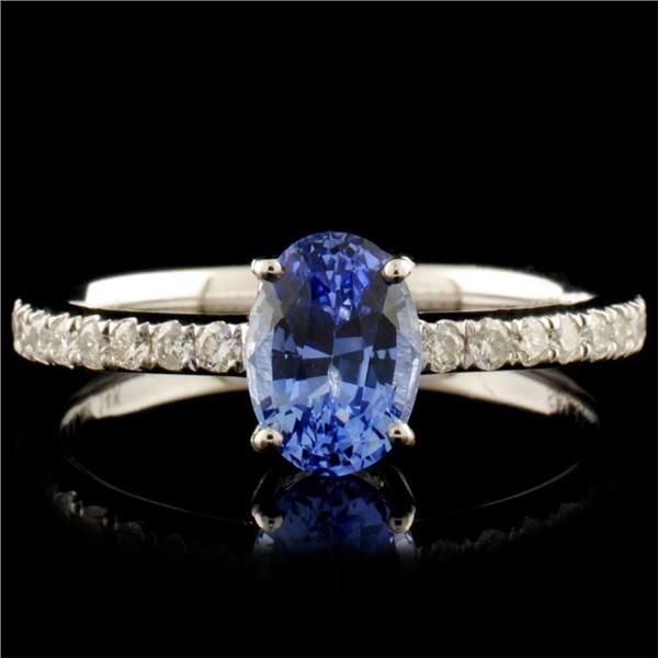 14K Gold 1.12ct Sapphire & 0.21ctw Diamond Ring
