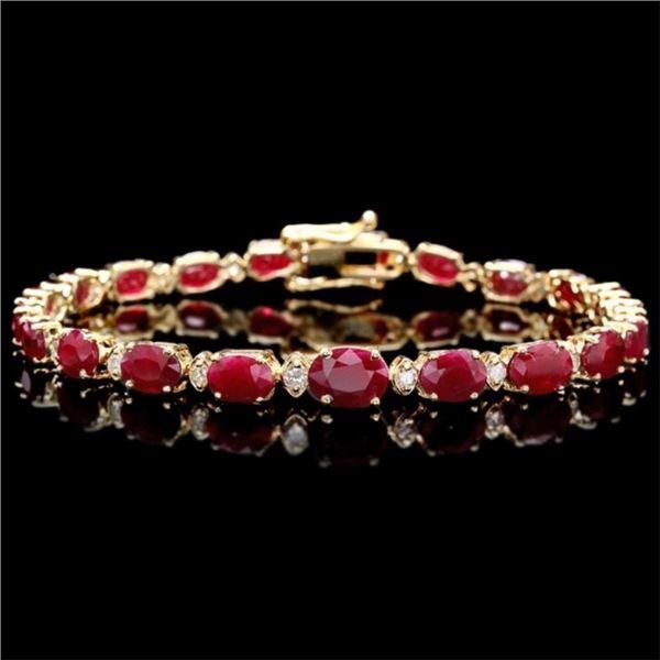 14k Gold 15.00ct Ruby & 0.50ct Diamond Bracelet