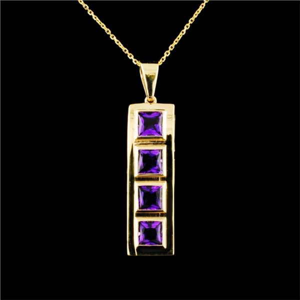 14K Gold 2.25ctw Amethyst Pendant