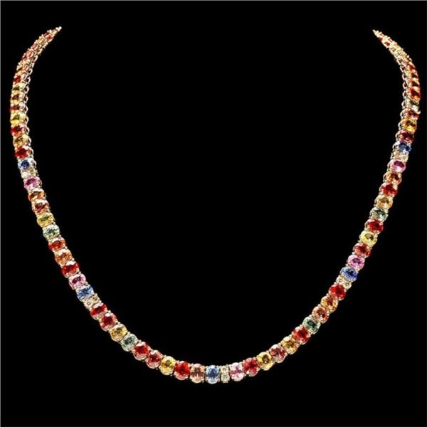 14k Gold 40.00ct Sapphire & 1.00ct Diam Necklace