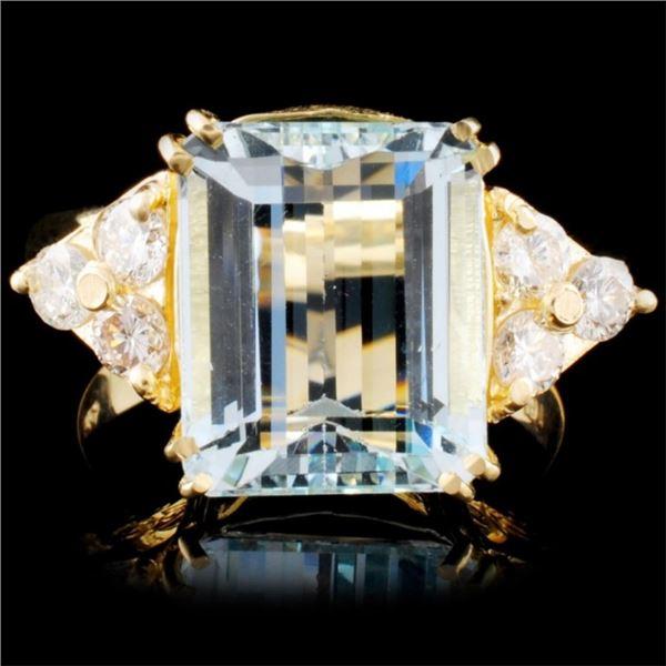 14K Gold 8.01ct Aquamarine & 0.61ctw Diamond Ring