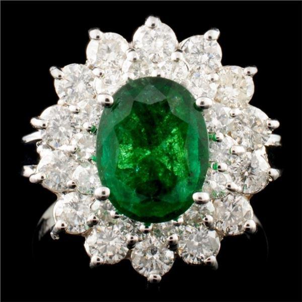 14K Gold 1.60ct Emerald & 1.45ctw Diamond Ring