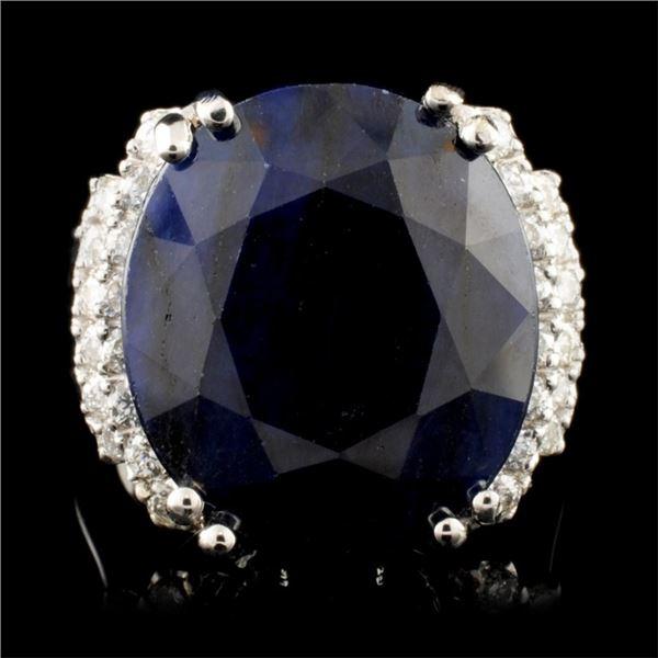 14K Gold 22.00ct Sapphire & 0.65ctw Diamond Ring