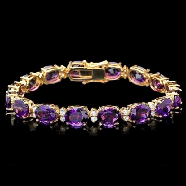 14k Gold 30.00ct Amethyst & 1.35ct Diam Bracelet
