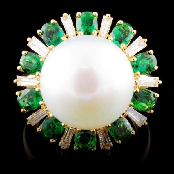 18K Gold 13.00MM Pearl & 0.49ctw Diamond Ring