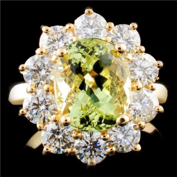 14K Gold 3.01ct Beryl & 2.05ctw Diamond Ring