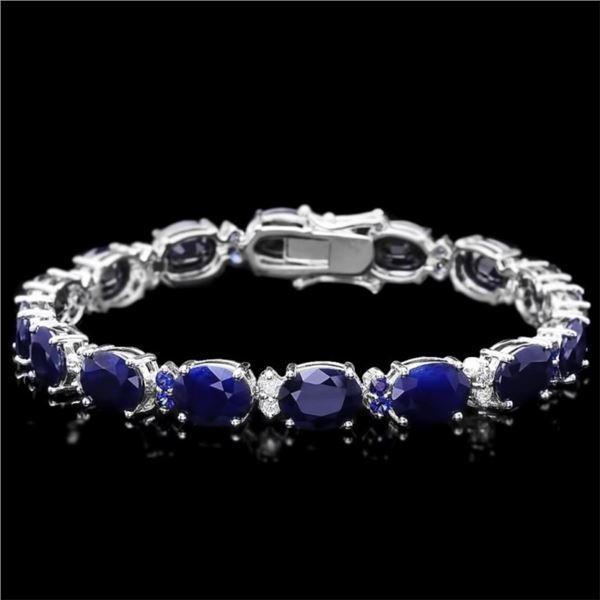 14k Gold 37.50ct Sapphire & 0.60ct Diam Bracelet