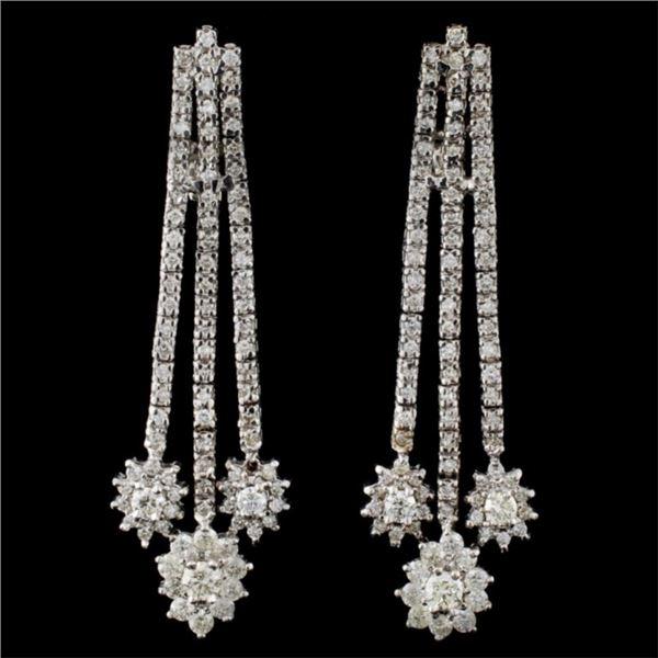 14K White Gold 3.50ctw Diamond Earring