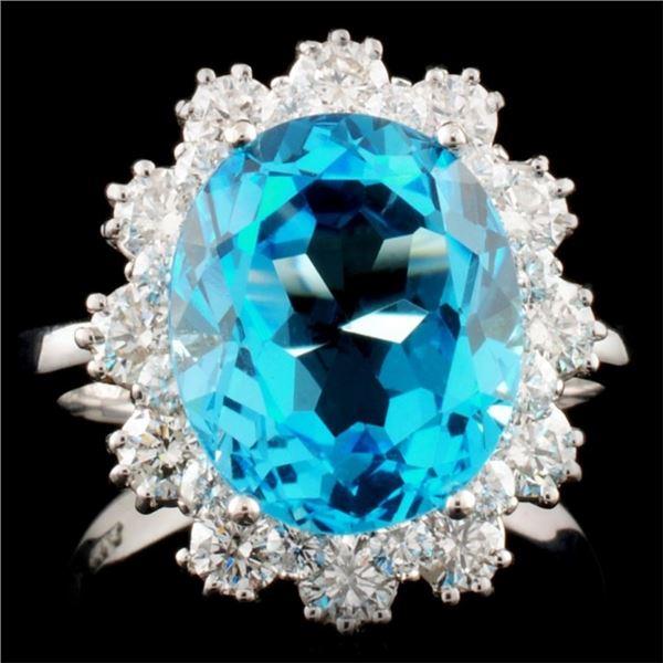 14K Gold 7.50ct Topaz & 1.25ctw Diamond Ring