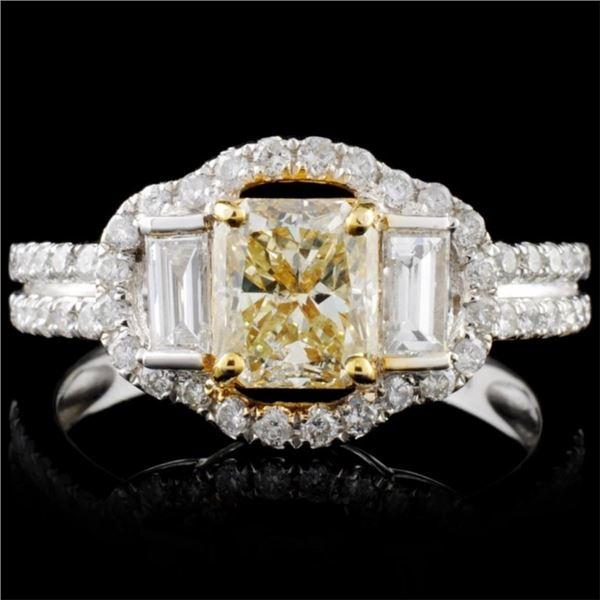14K White Gold 1.93ctw Fancy Color Diamond Ring