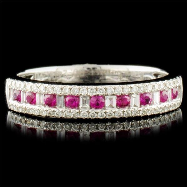 14K Gold 0.19ct Ruby & 0.25ctw Diamond Ring