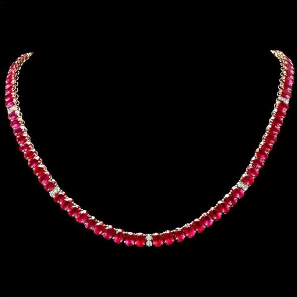 14k Gold 54.00ct Ruby & 1.35ct Diamond Necklace