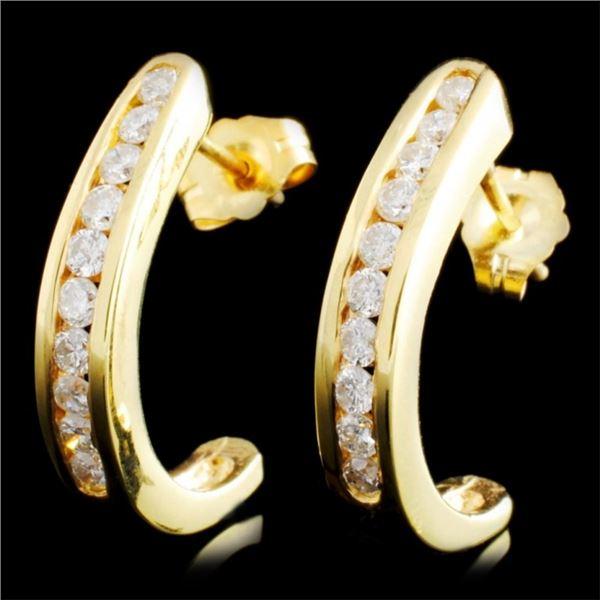 14K Gold 0.53ctw Diamond Earrings