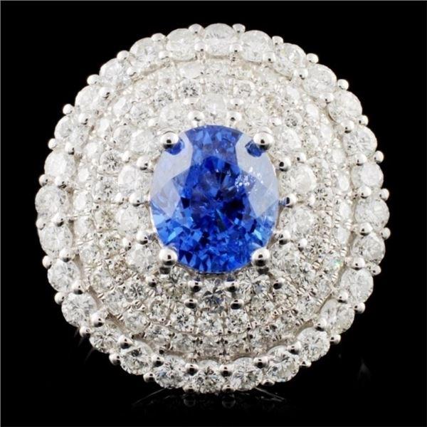 18K White Gold 2.71ct Sapphire & 2.52ct Diamond Ri