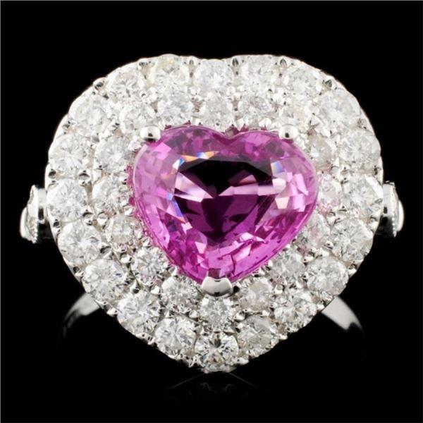 18K Gold 2.43ct Sapphire & 1.73ctw Diamond Ring