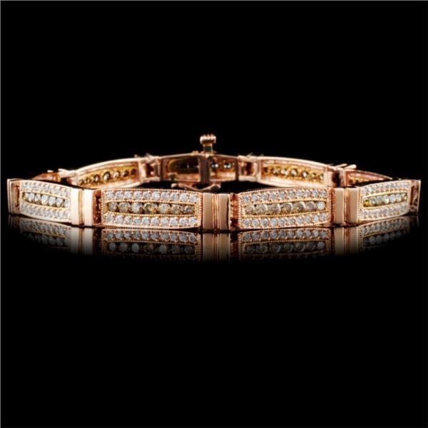 14K Rose Gold 3.96ctw Fancy Color Diamond Bracelet