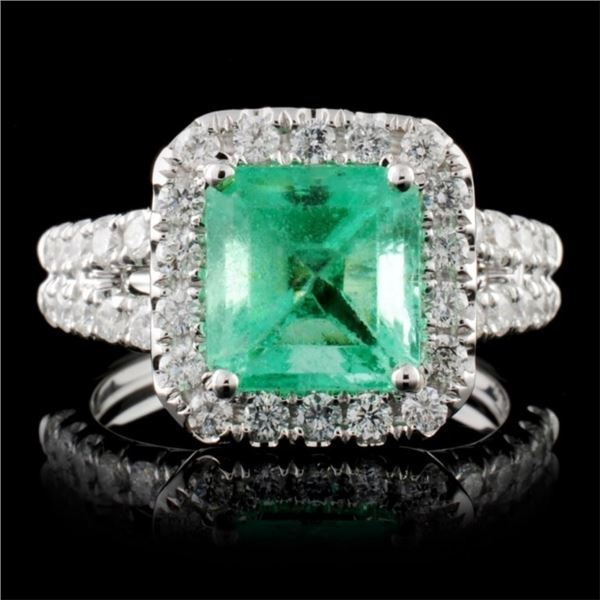 18K White Gold 2.50ct Emerald & 1.03ct Diamond Rin