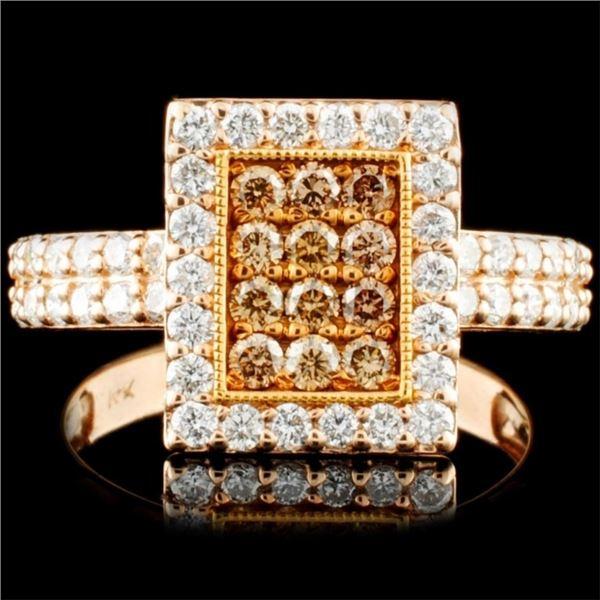 14K Gold 0.98ctw Fancy Color Diamond Ring