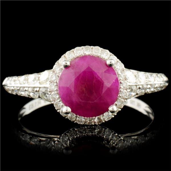 18K Gold 1.63ct Ruby & 0.49ctw Diamond Ring