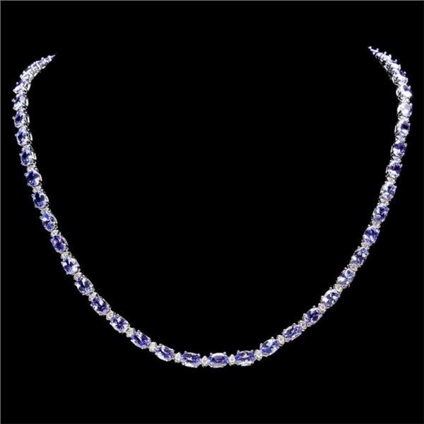 14k Gold 23.00ct Tanzanite & 1.00ct Diam Necklace