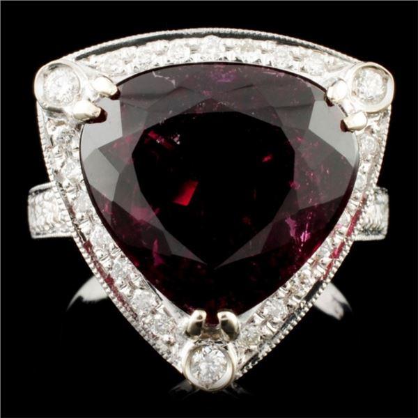 14K Gold 7.68ct Tourmaline & 0.39ctw Diamond Ring