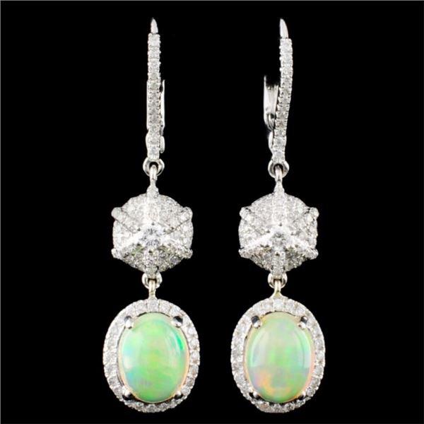 14K Gold 2.34ct Opal & 0.78ctw Diamond Earrings