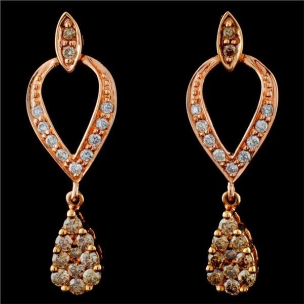 14K Rose Gold 0.67ctw Fancy Color Diamond Earrings